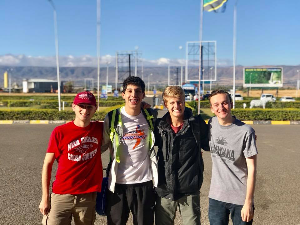Brendan Fusco with 2018 CU Students in Tanzania